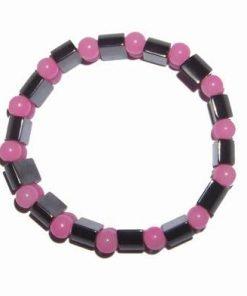 Bratara din hematit cu sfere roz pentru dragoste