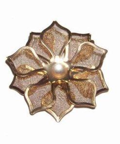 Brosa aurie cu floarea norocului de bani
