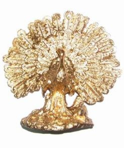 Paun auriu dn metal cu testoasa dragon pentru succes