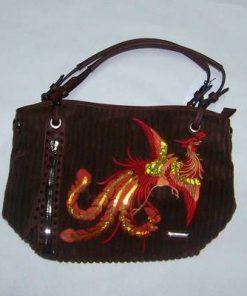Geanta Feng Shui din catifea raiata, culoare maro