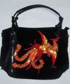 Geanta Feng Shui din catifea raiata, culoare neagra