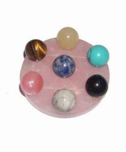 Grila / platou din cuart roz cu 7 sfere magice