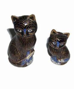 Cuplu de pisici din portelan pentru protectia casei