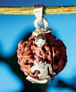 Pandantiv cu Rudraksha si argint, cu simbolul Tao