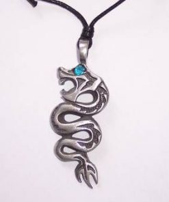 Dragon din metal pe siret negru reglabil