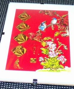 Tablou Feng Shui cu pasarile fericirii si bujori