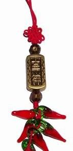 Canaf Feng Shui cu Nod mistic rosu, 6 ardei si ideograme