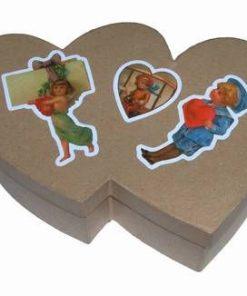 Cutie de carton in forma de inima dubla