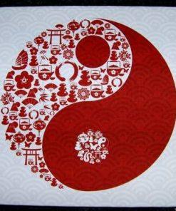 Tablou Feng Shui cu Yin-Yang si elemente de bun augur