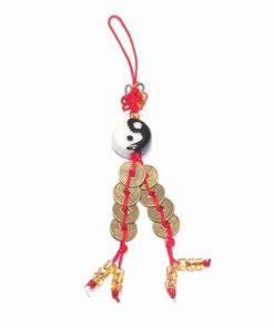 Yin-Yang cu 8 monede si nod mistic colorat