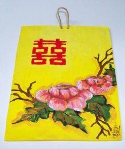 Tablou din ceramica cu bujori si Simbolul Dublei Fericiri