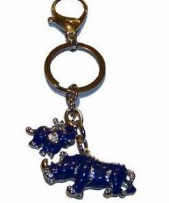 Brelocul / amuleta antifurt cu rinocer si elefant albastru