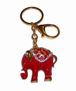 Breloc placat cu elefantul protectiei rosu