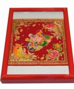 Tablou Feng Shui cu Buddha care tine in mana o pepita