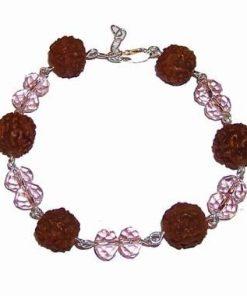 Bratara din argint cu Rudraksha si cristale roz