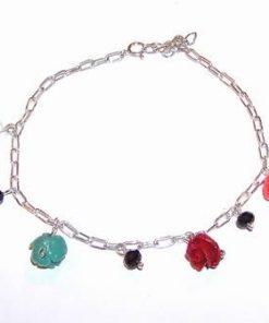 Bratara din argint cu trandafiri din coral - pentru dragoste