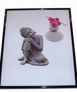 Tablou cu Buddha Tamaduitorul, orhidee si pietre
