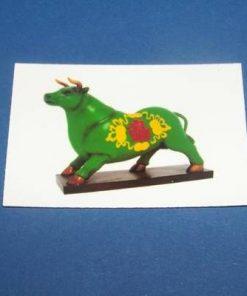 Bivolul verde cu simboluri de noroc - Centru - magnet