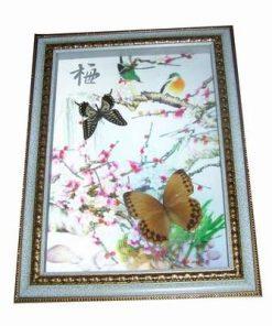 Tablou 3D cu flori de cires si fluturi