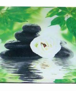 Tablou Feng Shui cu apa, frunze, pietre si floare de lotus