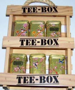 Set vintage cu 6 cutiute metalice pentru ceai
